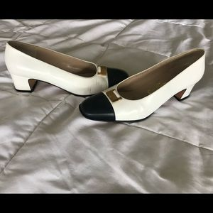 Ferragamo two toned block heel 9